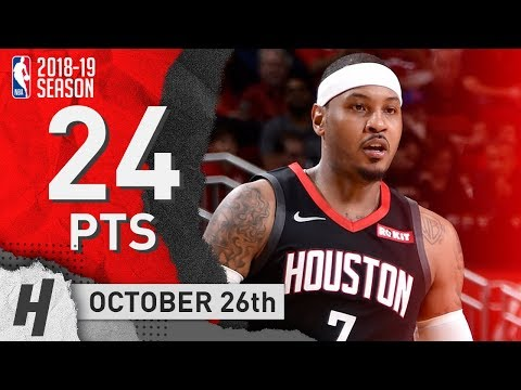 Carmelo Anthony Full Highlights Rockets vs Clippers 2018.10.26 - 24 Points!