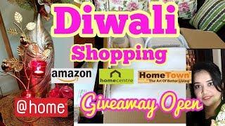 Diwali Shopping Series || Amazon Shopping Haul || Home Centre || @home || Home Town Home Decor Haul