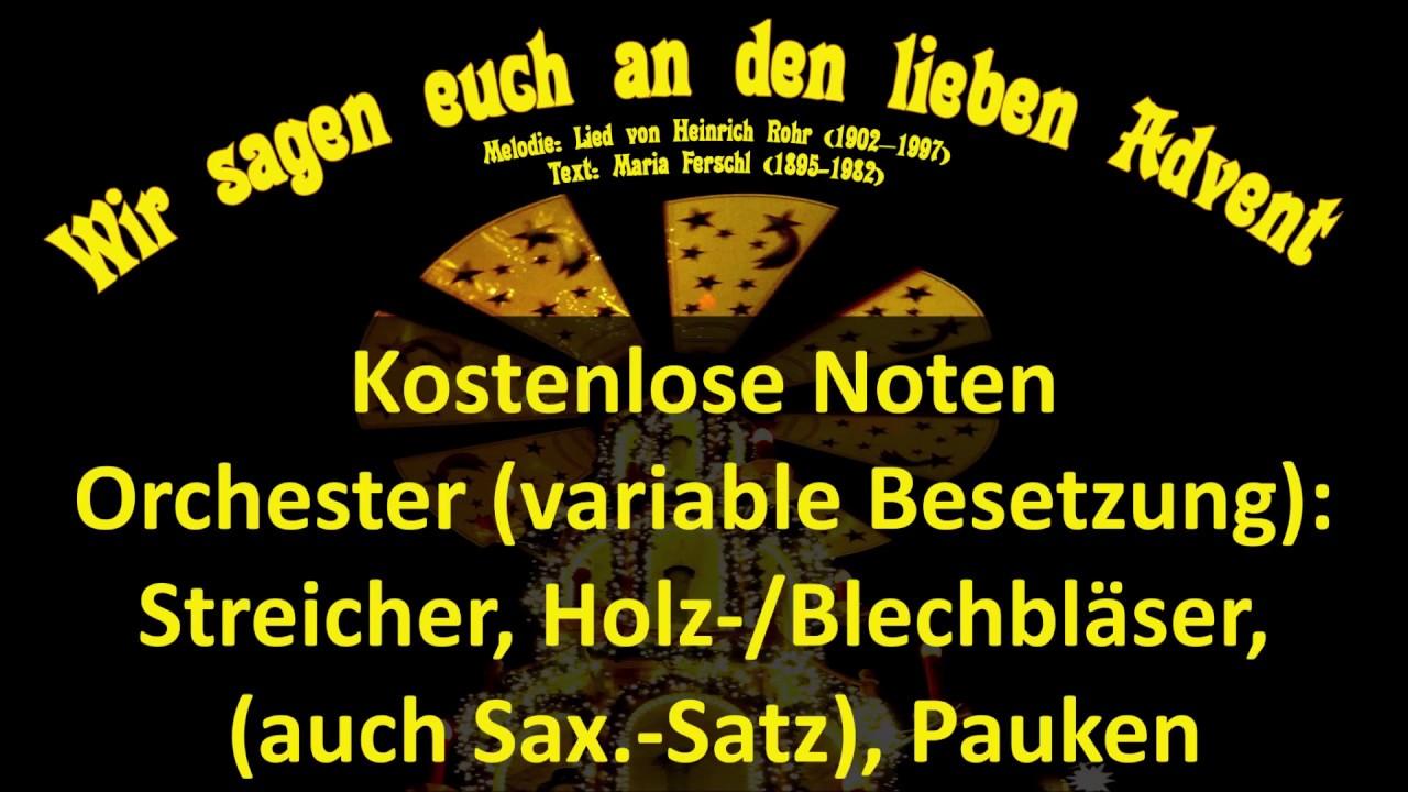 Wir Sagen Euch An Den Lieben A Eg 17 Hrohr Noten Kostenlos Orchester Köthen Streicher Bläser Sax