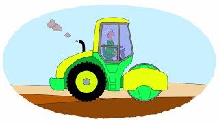 Мультик - Раскраска. Учим Цвета - Необычные тракторы