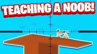 TEACHING NOOB YOUTUBER HOW TO PLAY ROBLOX FORTNITE! (Roblox Island Royale)
