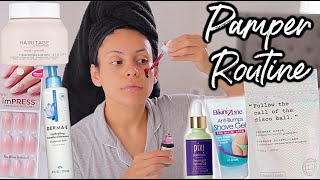 DRUGSTORE PAMPER ROUTINE: FEMININE HYGIENE, SKINCARE, HAIRCARE + NAILS! (self care day)