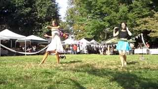 Hoop dancers Caitlin Donaghy and Nicolle Barrett