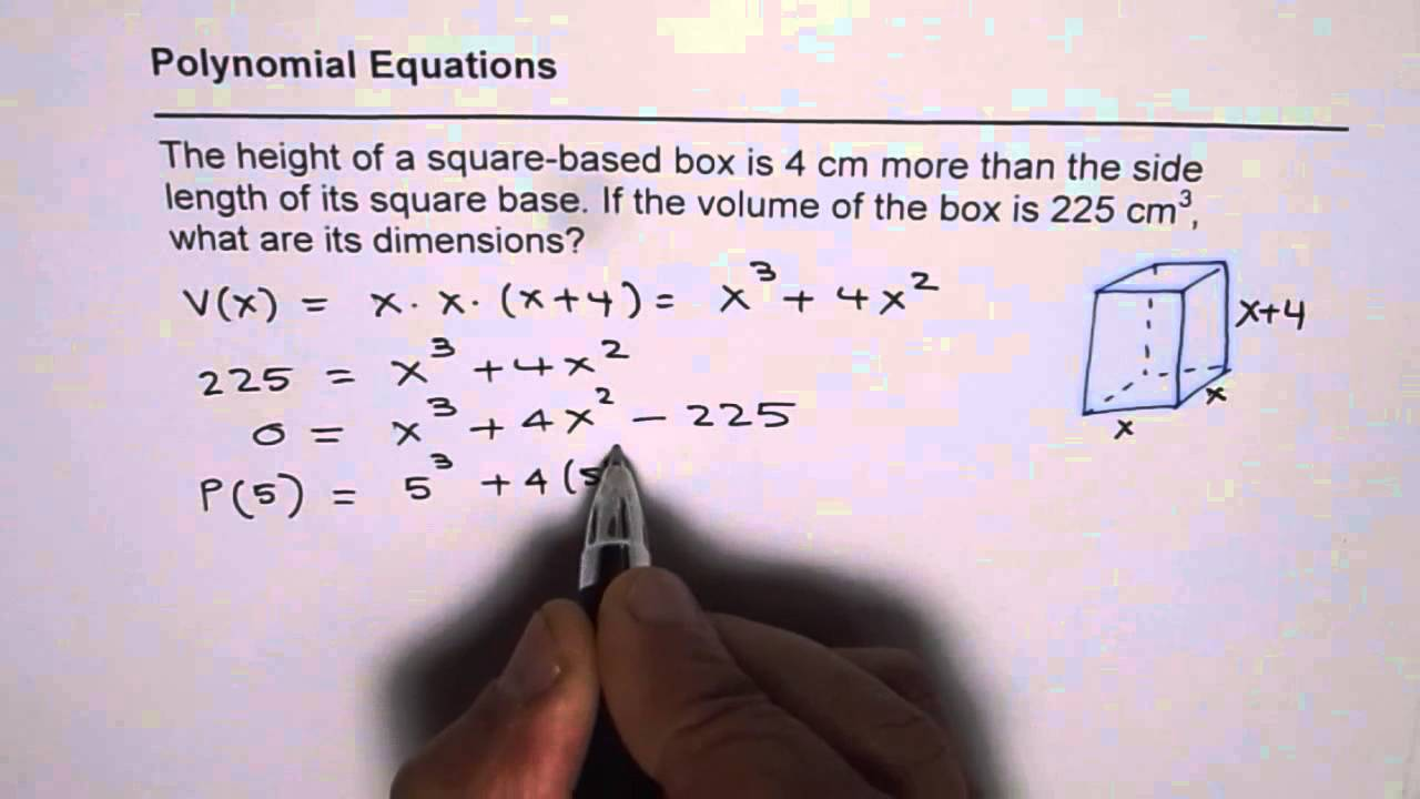 solve polynomial equation to find dimensions of square
