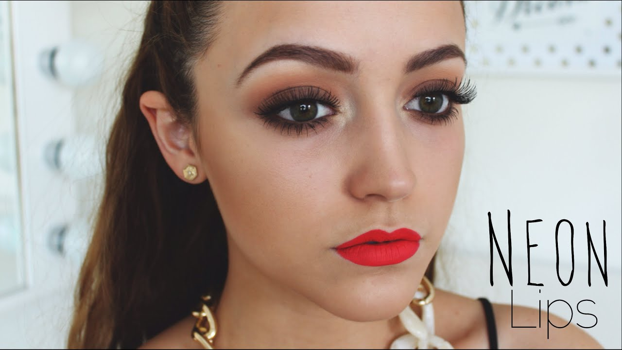 Warm Eyes Neon Red Lips Tutorial You