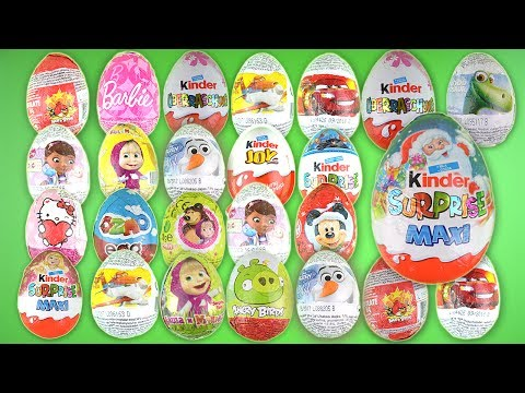 Opening Kinder Surprise Eggs 25 Amazing Eggs Frozen Justice League Angry Birds Masha And The Bear