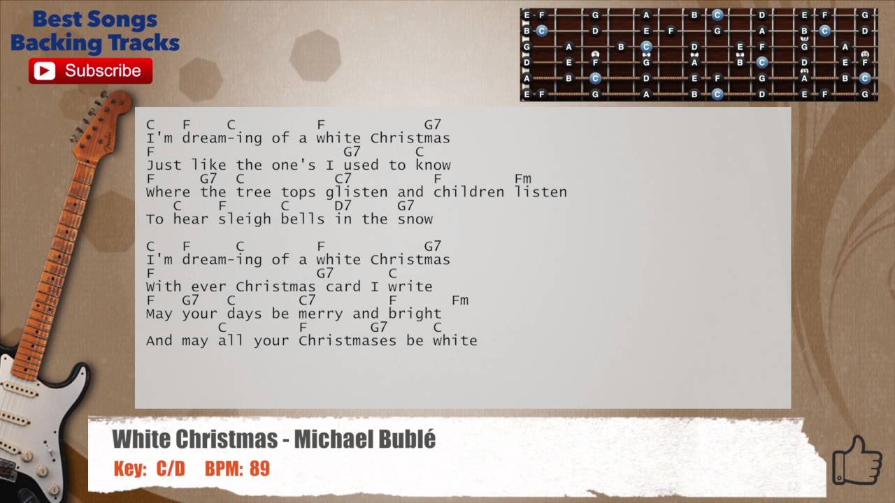 White Christmas - Michael Buble Guitar Backing Track with ...