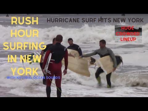 Rush Hour Surfing  in New York! Hurricane Swell!