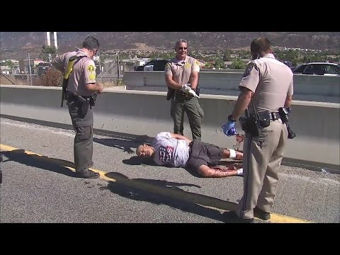 Los Angeles police tackle pursuit suspect before jumping from freeway overpass