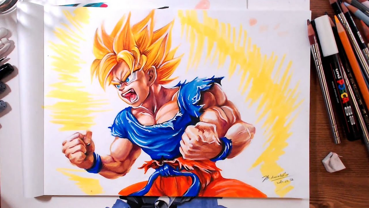 Drawing Dragon Ball Super Saiyan Goku Drawholic Youtube