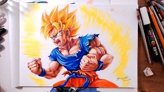 Drawing Dragon Ball: Super Saiyan Goku | drawholic