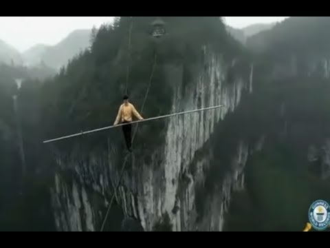 The Highest And Fastest Blindfolded Tightrope Walk At Meter - Nik wallendas epic blindfolded skyscraper tightrope walk