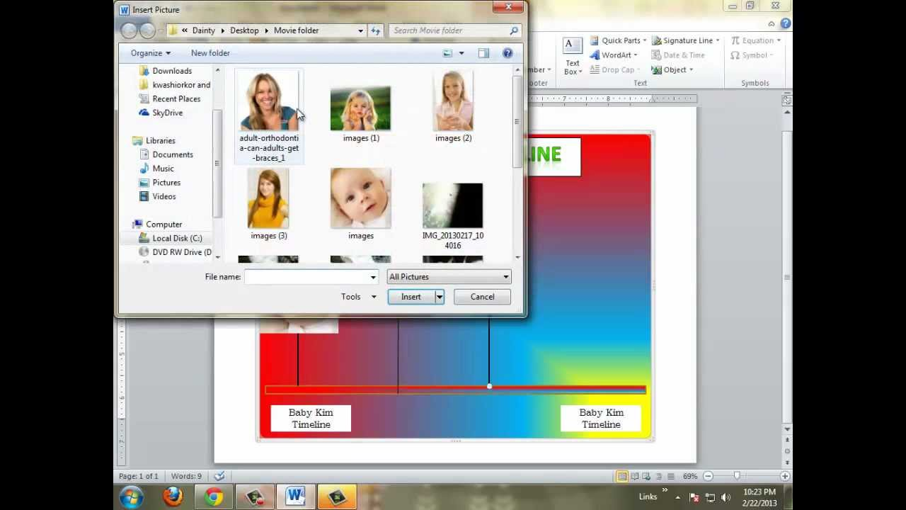 how to make a timeline on microsoft word 2010