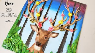 Deer Clay Mural/3d Painting/wall Decor/home Decor/art And Craft/creativecat
