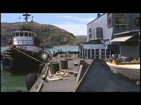An Army tug boat docks in Vietnam. HD Stock Footage
