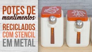 Potes de Mantimentos Reciclados com Stencil
