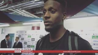 Divock Origi struggling with Swahili during a BBC interview