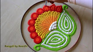 Simple new year rangoli designs with colours l Rangoli design for beginners l   रांगोळी डिझाईन सोपी