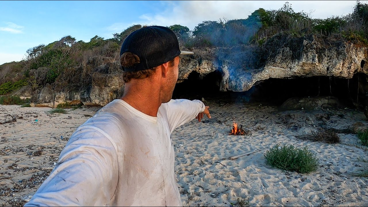 SOLO CAMPING IN A CAVE ON A DESERTED ISLAND with no food! EP 38