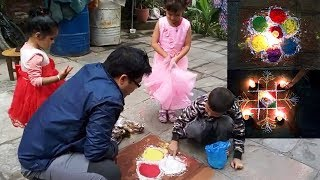 My Second Experience Colorful Rangoli 2019 Sam vs Daddy !! Kids Playtime