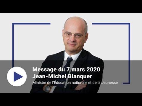 Coronavirus - COVID-19: Message de Jean-Michel Blanquer - 7 mars 2020
