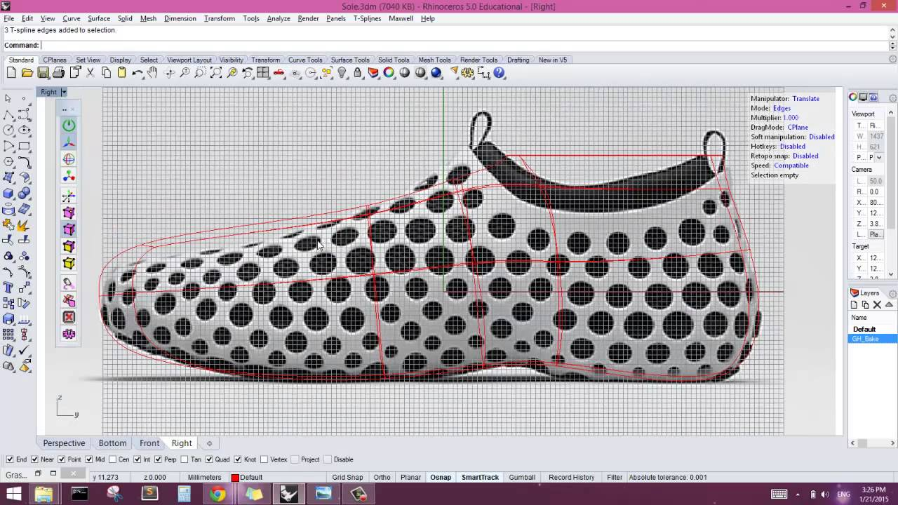 Intro to t splines for rhino shoe model youtube for T spline architecture