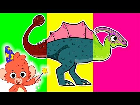 Wrong Heads Dinosaur Cartoon | Mix and Match Ankylosaurus, Spinosaurus, Yinlong, Parasaurolophus