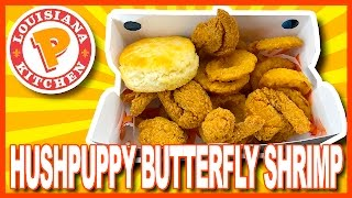 Popeyes Hushpuppy Butterfly Shrimp with Onion Rings & Biscuit Review