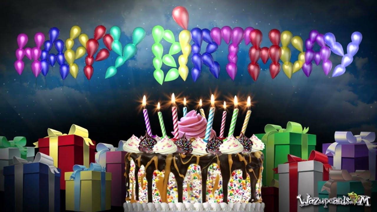 Best 3d Moving Wallpapers For Desktop Happy Birthday Balloons And Cake Party 1 Youtube