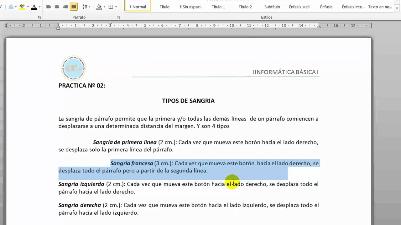 Aplicaci n de tipos de sangria en word 2010 youtube for En word cual es el interlineado