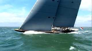 J-Class Lionheart sailing -- from onboard Rainbow