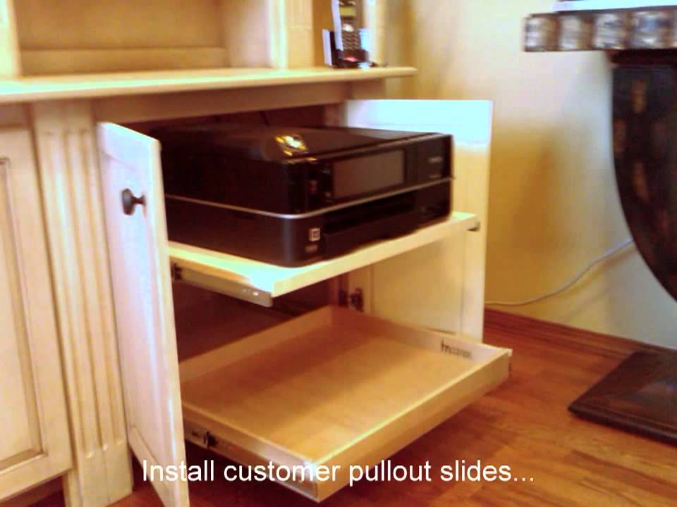 Hide Your Printer Below Counter With Custom Pullout Shelving You