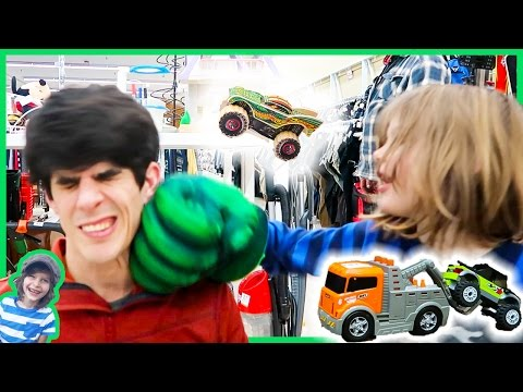 Lego Monster Trucks, Tow Trucks And Punching Axel's Daddy At Thrift Store