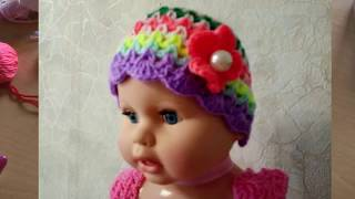 Детская шапочка крючком из остатков пряжи