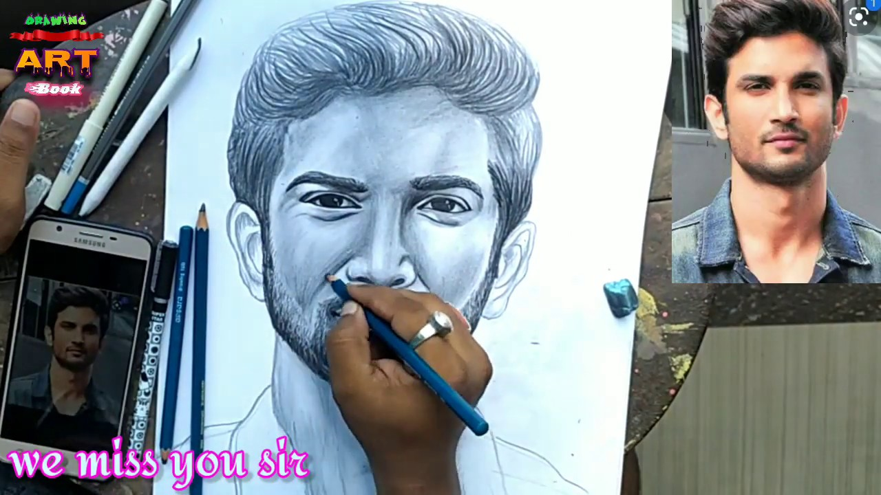 Sushant Singh Rajput pencil drawing, - YouTube