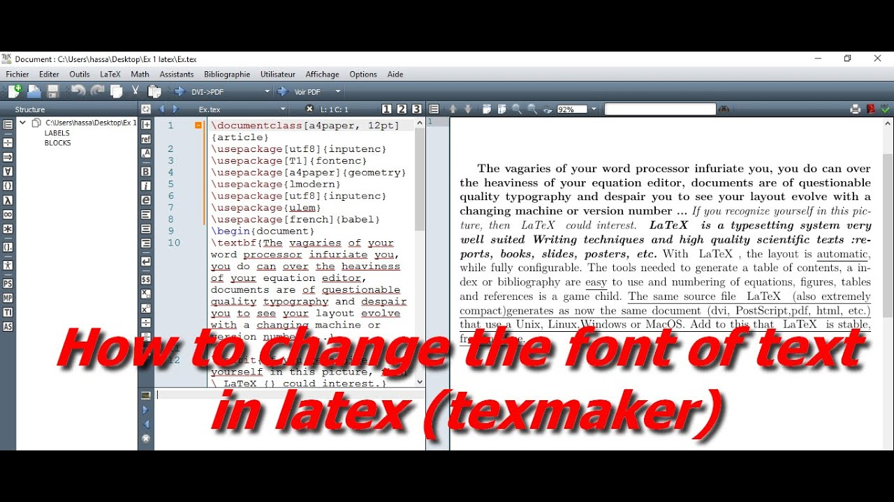 HOW TO CHANGE THE FONT OF TEXT IN LATEX