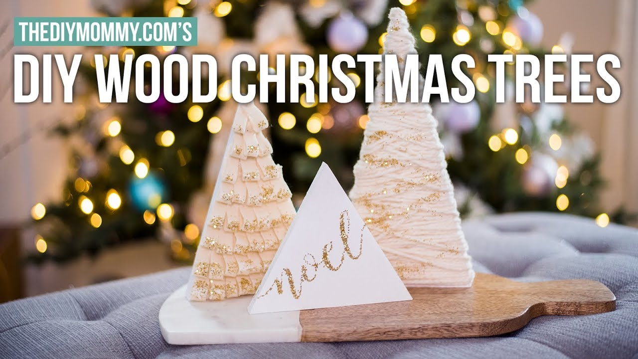 Diy Mini Wood Tree Decorations Christmas Diy Decor Challenge 2017