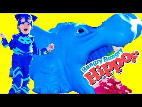 PJ MASKS Disney Episodes Gekko Catboy GIANT HUNGRY HUNGRY HIPPOS! IRL Superheroes Worlds Largest