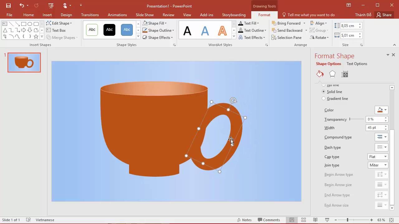 Vẽ tách cafe bằng công cụ Shapes trong PowerPoint 2016