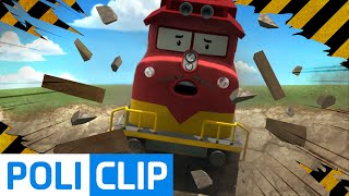 Train accident in The Brooms town | Robocar Poli Clips