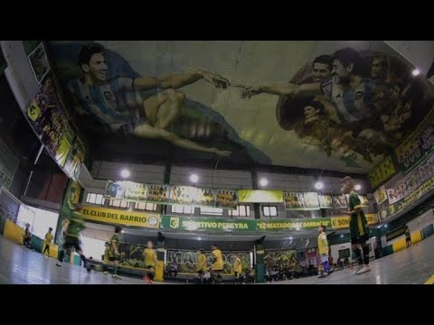 Messi and Maradona as Adam and God inspire young futsal players