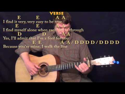 I Walk the Line - Fingerstyle Guitar Cover Lesson with Lyrics/Chords - Capo 1st