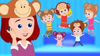 Five Little Monkeys | Schoolies Cartoons & Nursery Rhymes For Kids