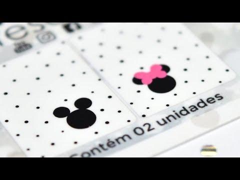 Adesivos de unha fácil de fazer - Minnie e Mickey - Passo a passo