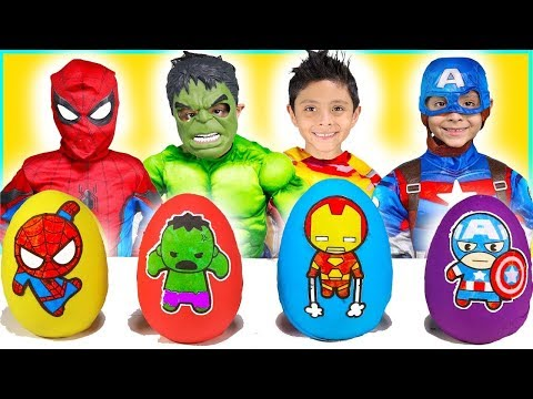 Play-Doh Surprise Eggs kids video costumes toys for kids superheroes fun play
