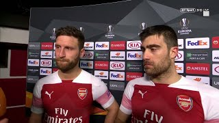 Sokratis and Shkodran Mustafi react after helping Arsenal past BATE in the Europa League