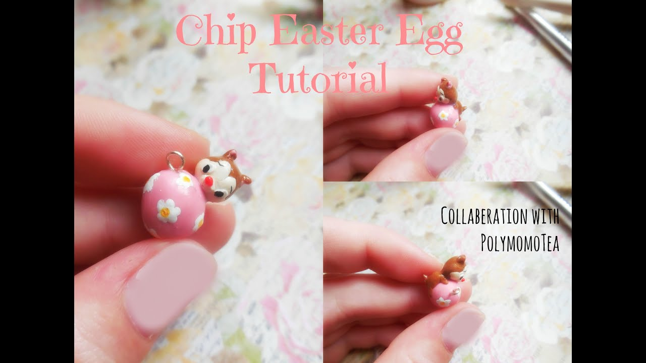 Chip (or Dale) on an Easter Egg Polymer Clay Charm Tutorial ~ Collab ...