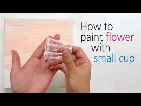 (205) How to paint flower with a small cup _ Fluid acrylic _ Designer Gemma77