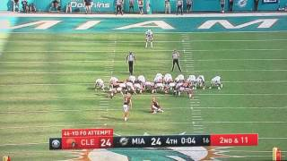 Cleveland Browns miss game winning field goal against the Dolphins