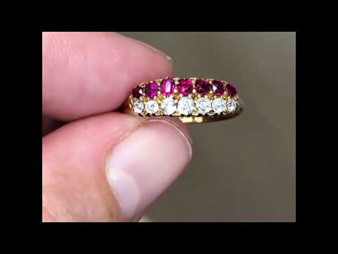 Antique Victorian ruby and diamond ring hallmarked Birmingham 1884